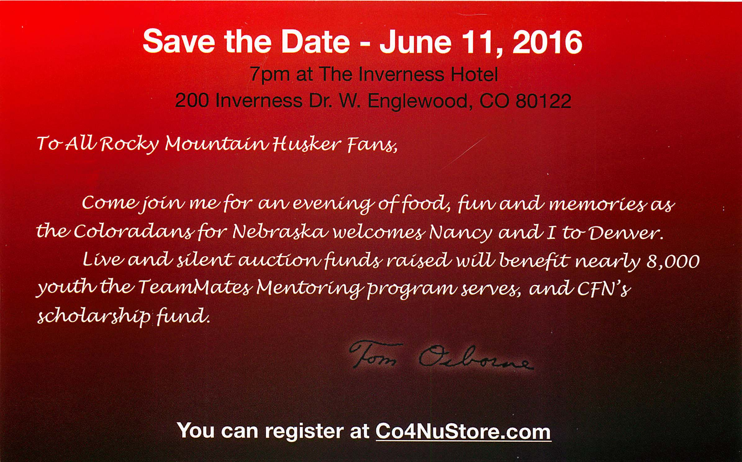 Tom Osborne Invite