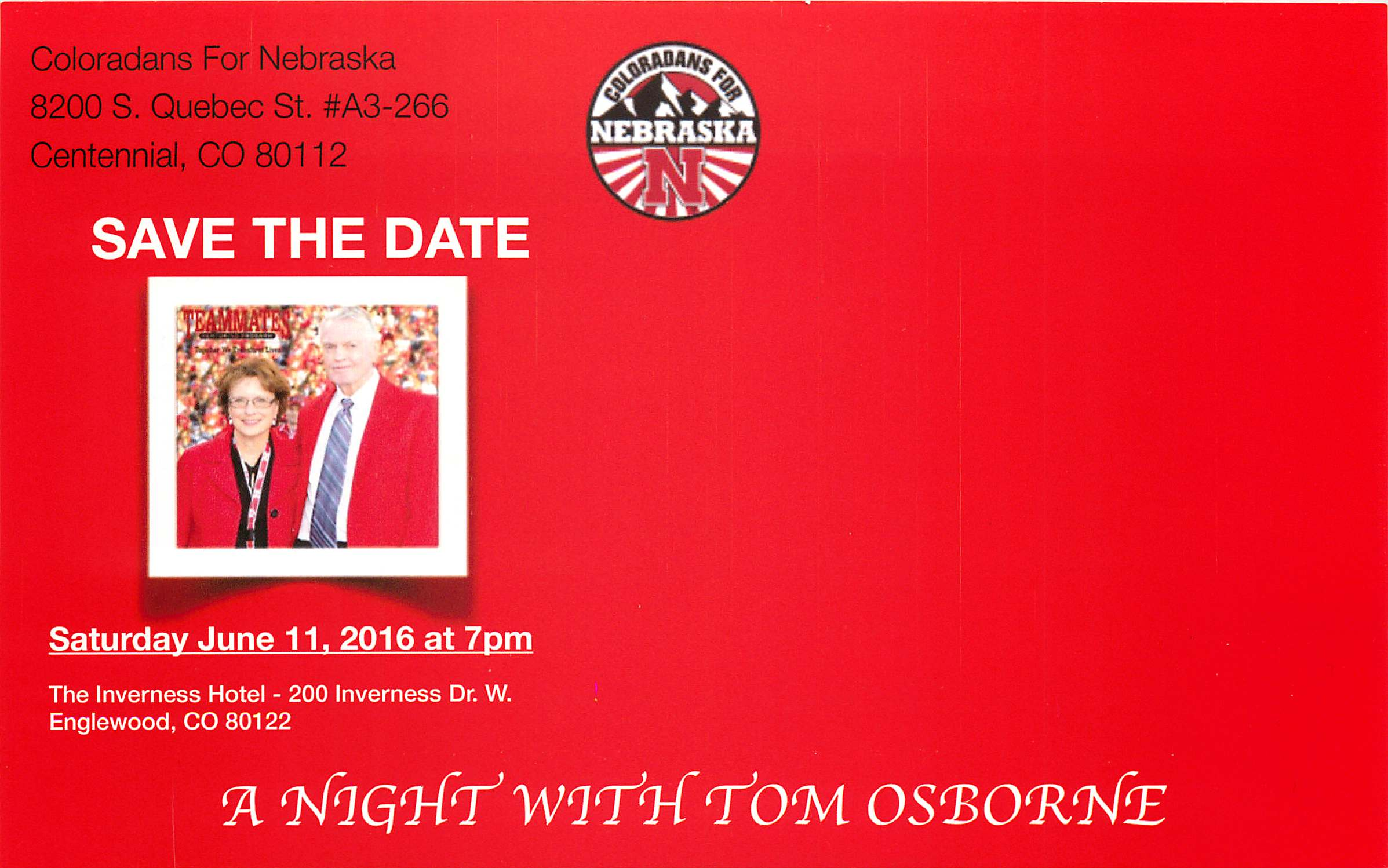 Tom Osborne Save the Date