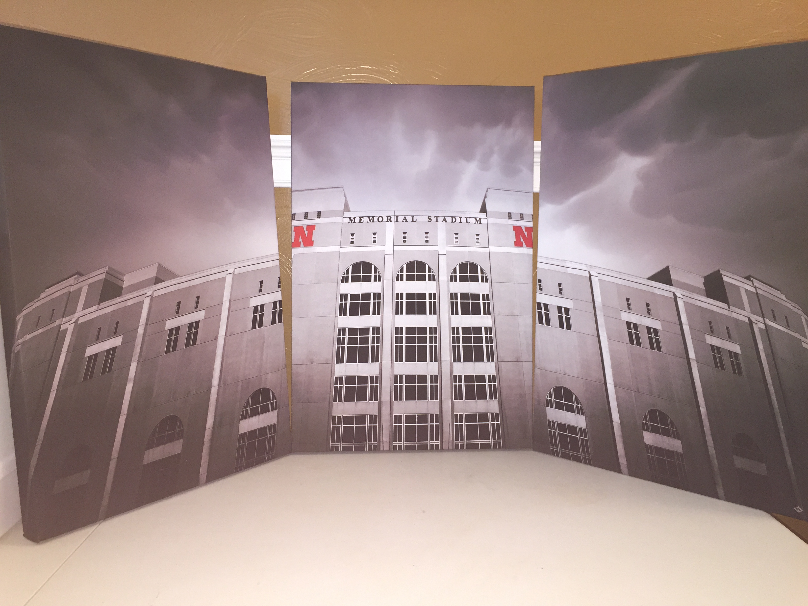 Memorial Stadium 3 Panel Canvas