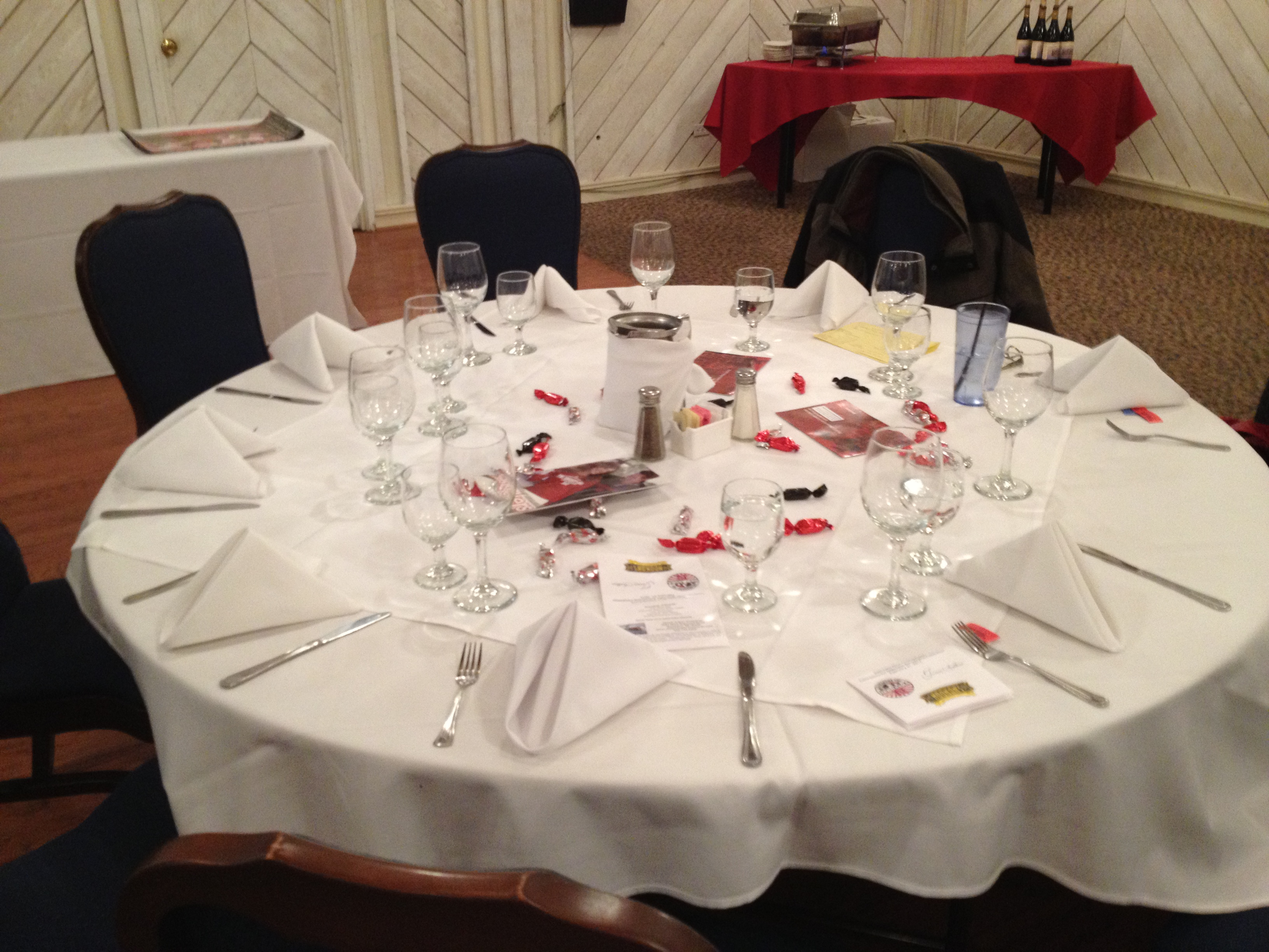 Tables are Ready, Including Bakers Candy Meltaways